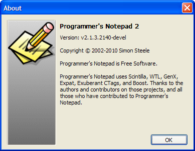 Programmer's Notepad version 2.1.3