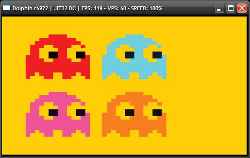 Dolphin avec les fantômes de Pac-Man