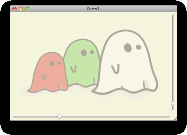 Capture d'écran de l'exemple de transparence avec FireMonkey