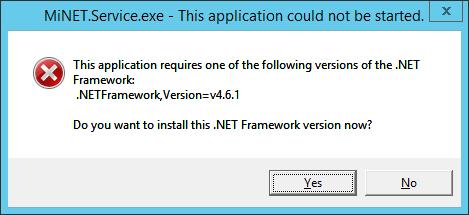 .NET Framework 4.6.1 est requis