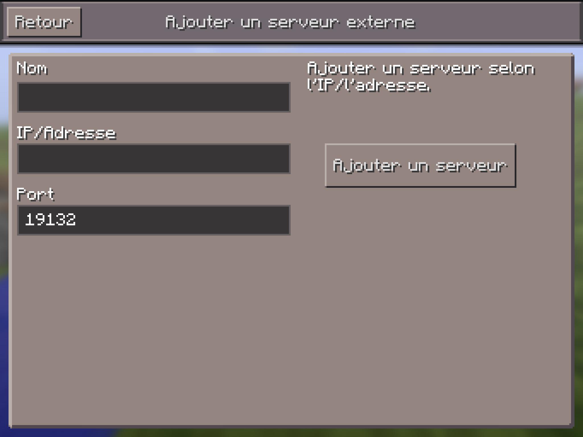 Minecraft: Ajouter un serveur externe