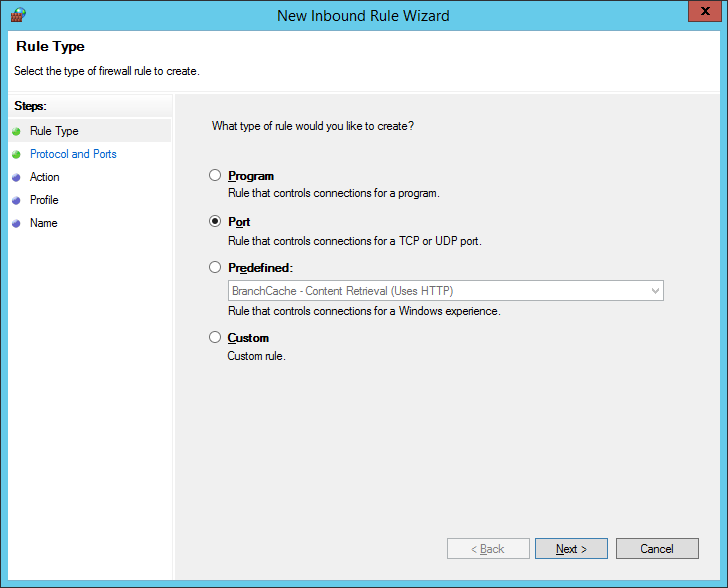 New Inbound Rule Wizard Step 1