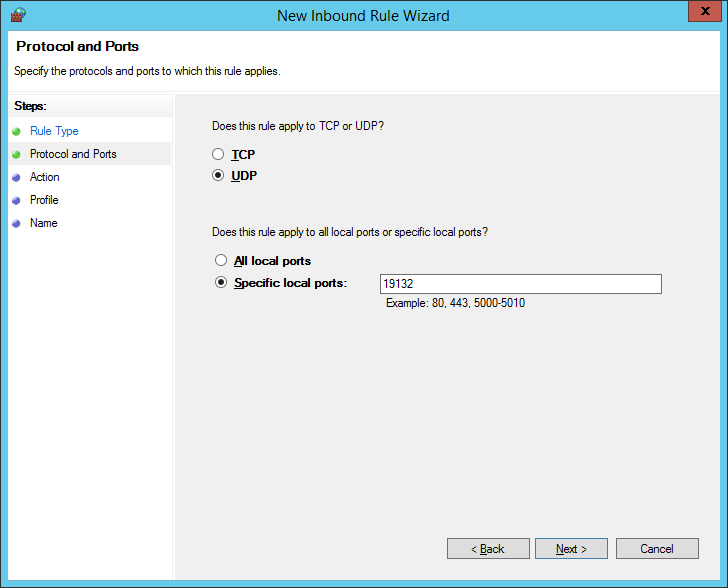 New Inbound Rule Wizard Step 2