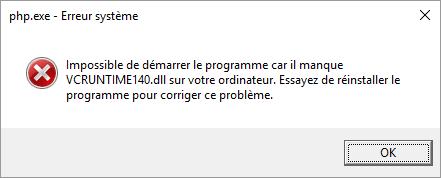 Le fichier VCRUNTIME140.dll est absent