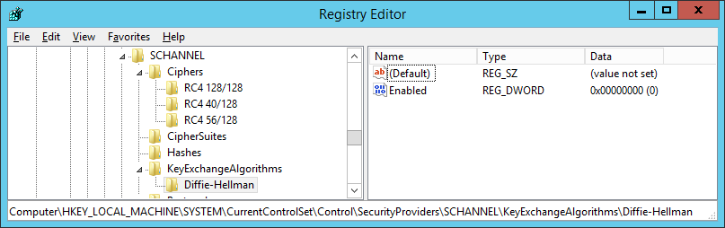Registry Editor - SCHANNEL key